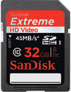 SanDisk 32GB Extreme 45MB/s UHS-1 SDHC