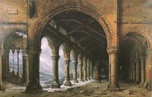 The Effect of Fog and Snow through a Ruined Gothic Collonade. Dauggere, 1826