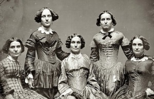 Daguerrotype of the Clark Sisters. If they are all single, one would assume from their expressions they will remain that way forever. More likely, they are all married and their expressions reflect that divorce was not really an option in those days.