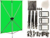 Green Screen Lighting Kit w/ Westcott 5ft x 7ft Background